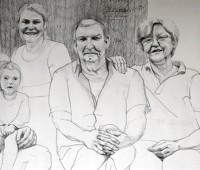 Grupni portret obitelji čije je iskaze autorica koristila u istraživanju. Žabljak, Livno 2015'.